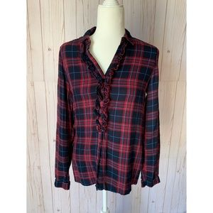 ZARA red/blue ruffle plaid button up, size Small